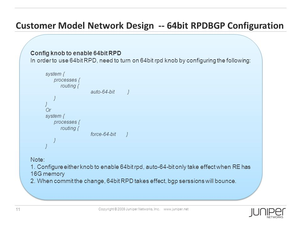 Customer Model Network Design -- 64bit RPDBGP Configuration