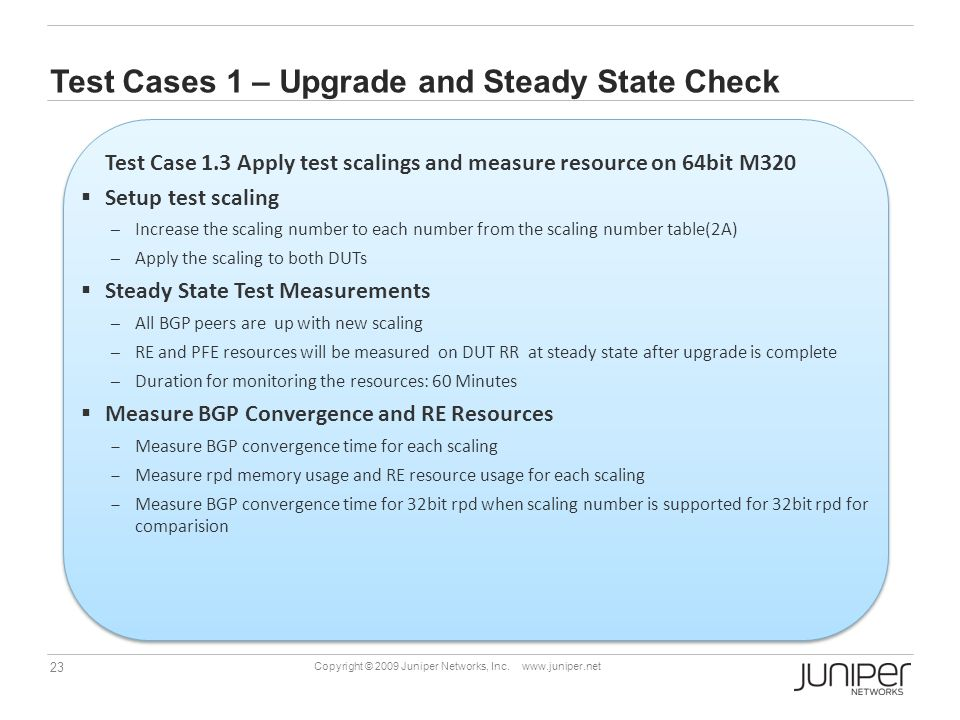 Test Cases 1 – Upgrade and Steady State Check