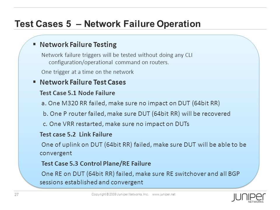 Test Cases 5 – Network Failure Operation