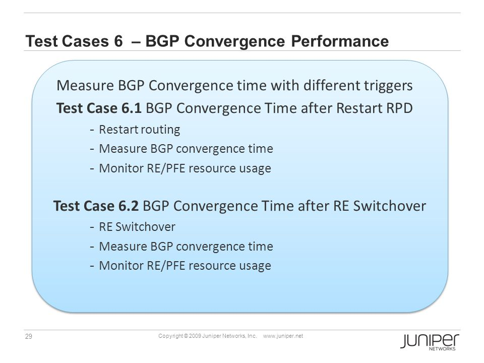 Test Cases 6 – BGP Convergence Performance