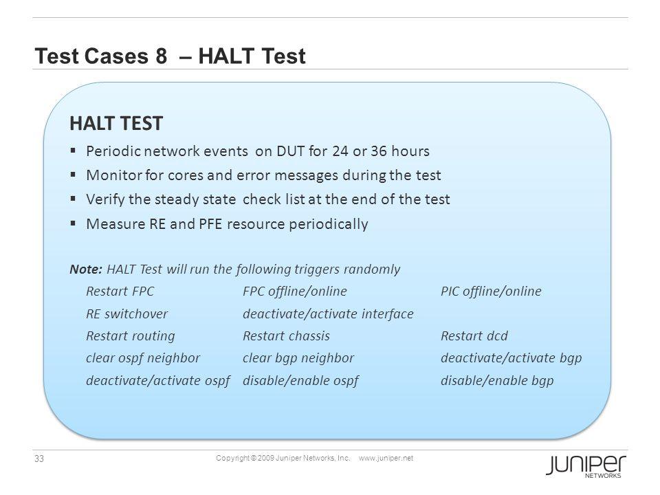Test Cases 8 – HALT Test HALT TEST
