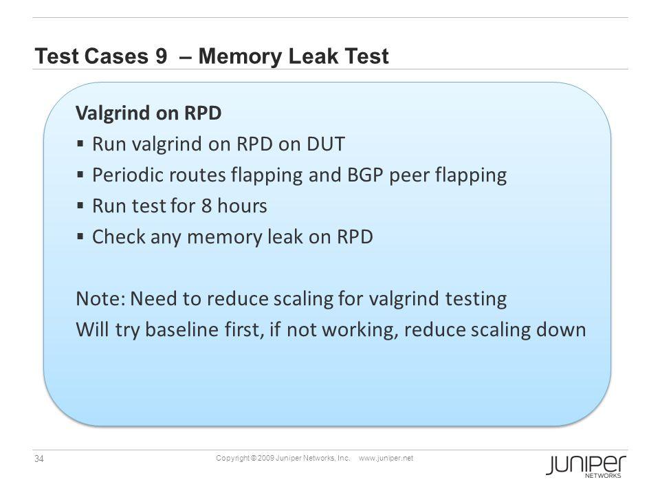 Test Cases 9 – Memory Leak Test
