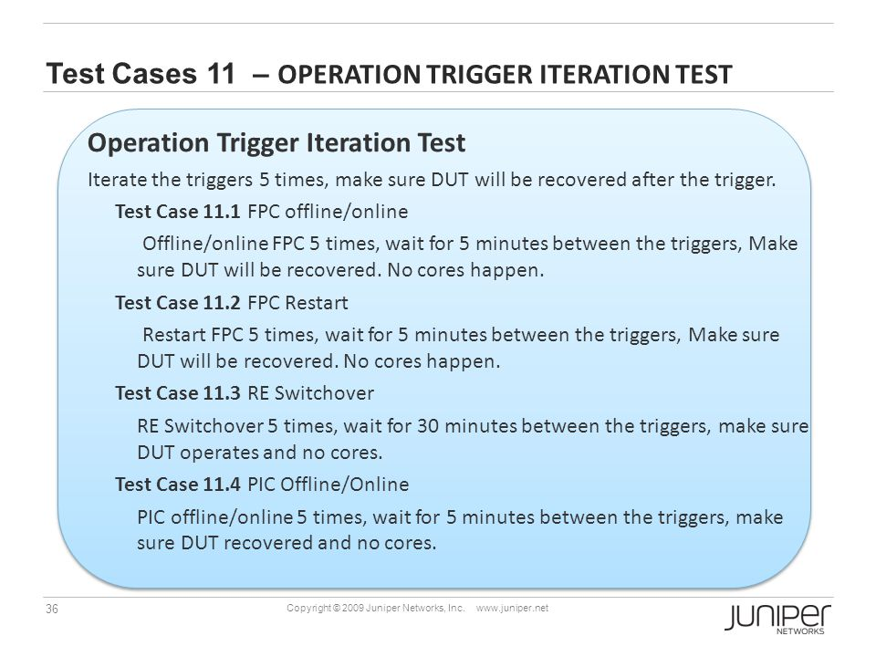 Test Cases 11 – Operation Trigger Iteration Test