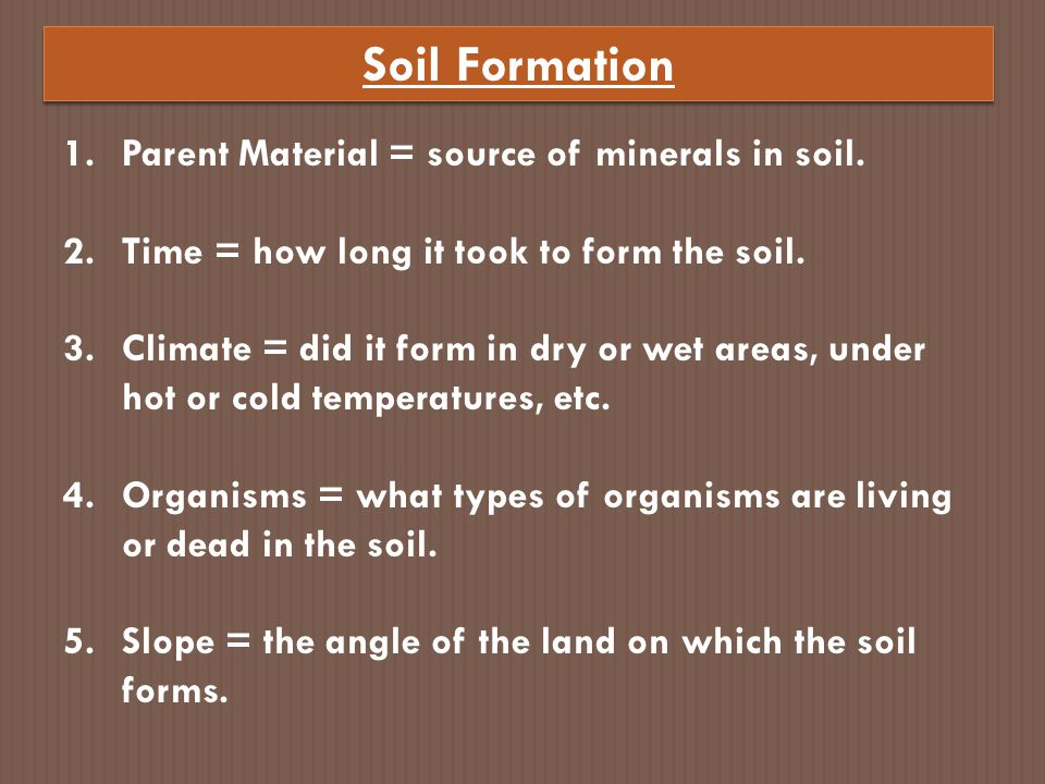 Soil Formation Parent Material = source of minerals in soil.