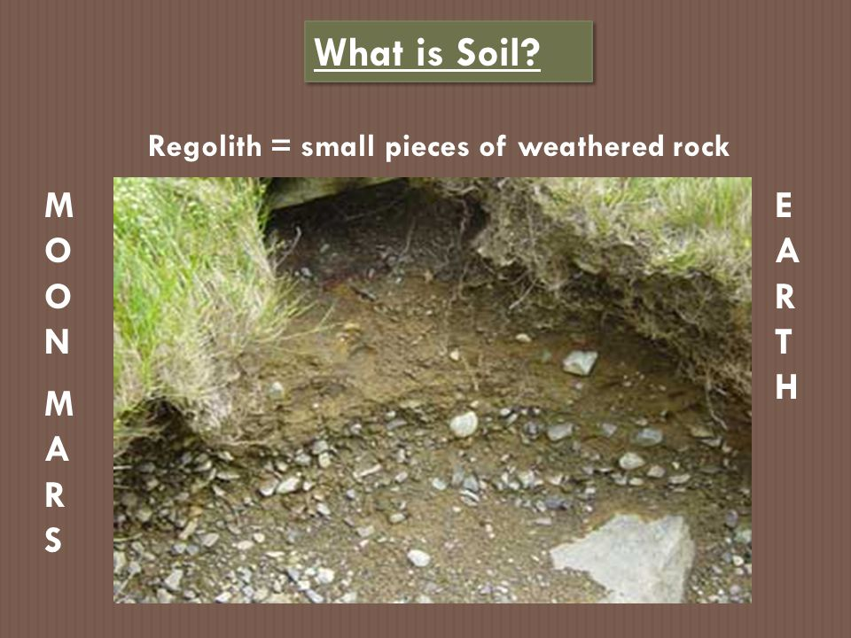 Regolith = small pieces of weathered rock