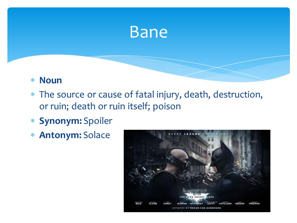 Bane Noun. The source or cause of fatal injury, death, destruction, or ruin; death or ruin itself; poison.