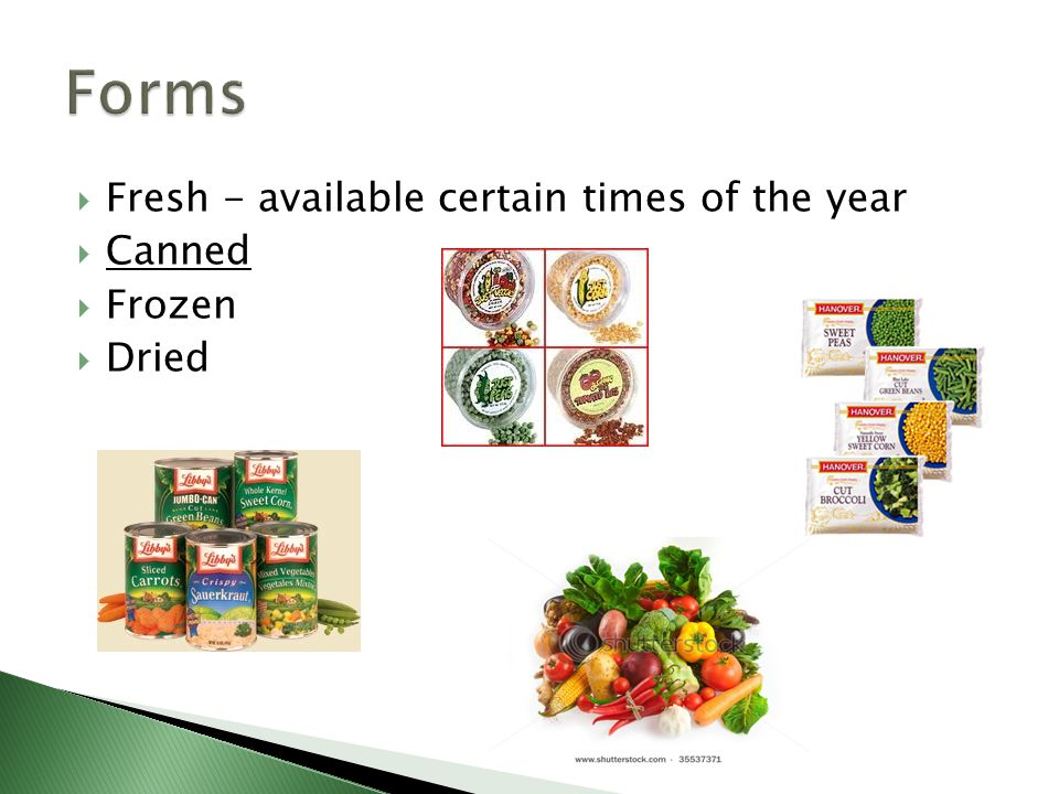 Forms Fresh - available certain times of the year Canned Frozen Dried