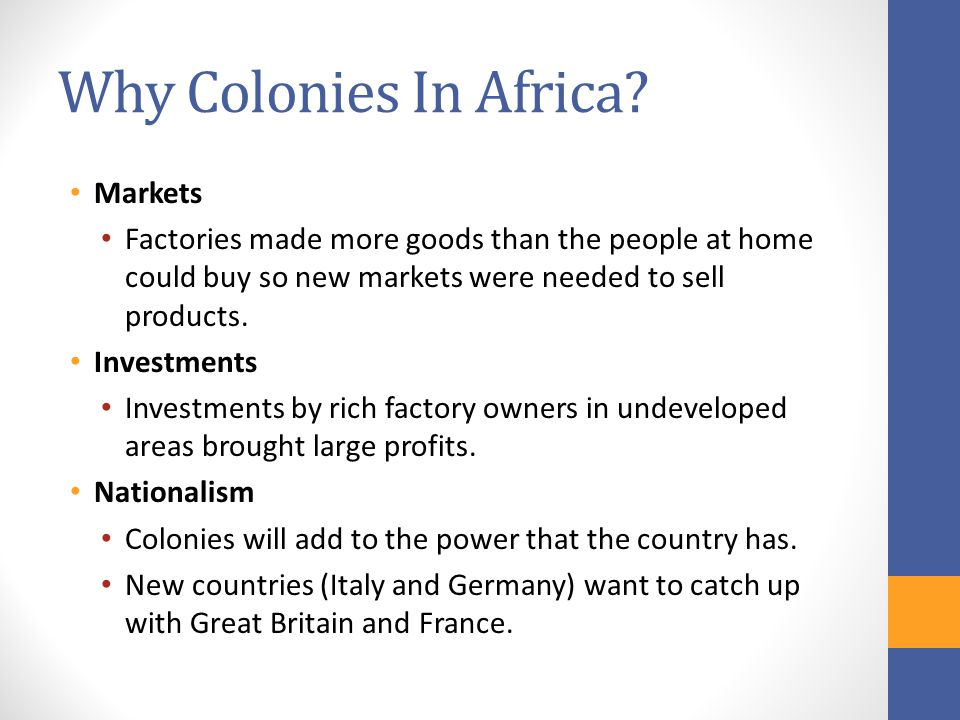 Why Colonies In Africa Markets