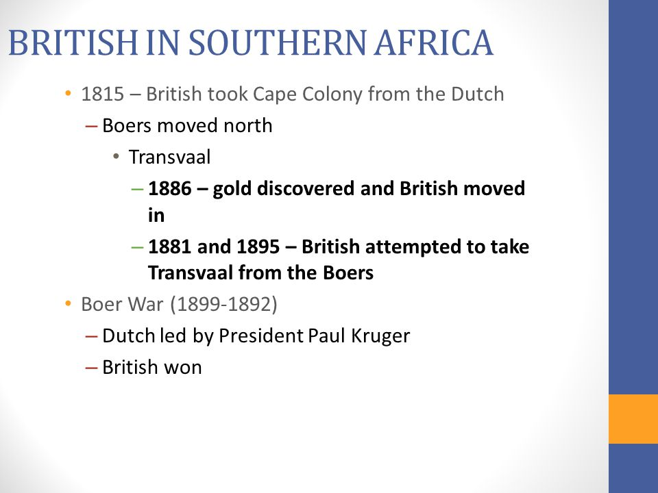 BRITISH IN SOUTHERN AFRICA