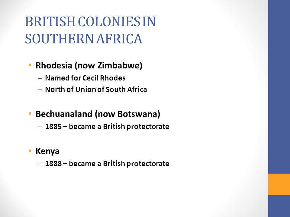 BRITISH COLONIES IN SOUTHERN AFRICA