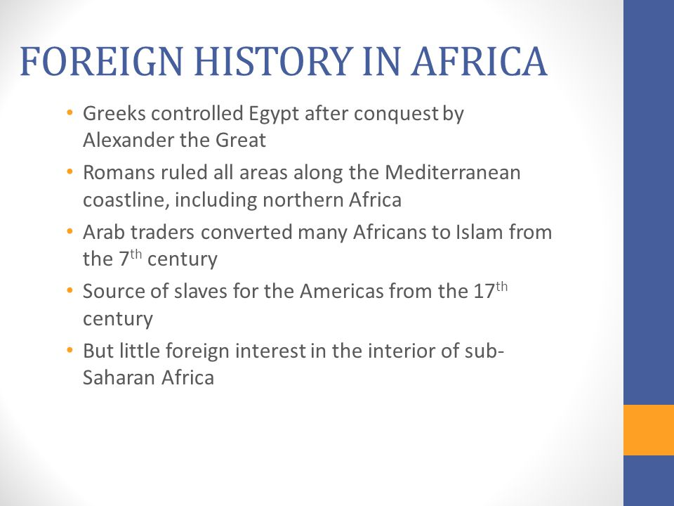 FOREIGN HISTORY IN AFRICA