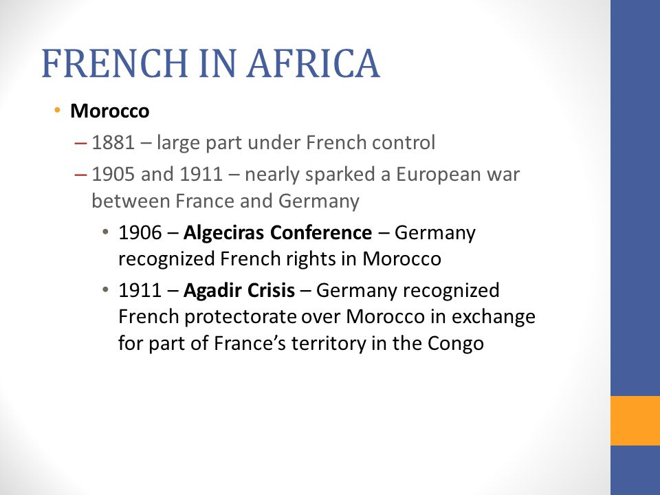 FRENCH IN AFRICA Morocco 1881 – large part under French control