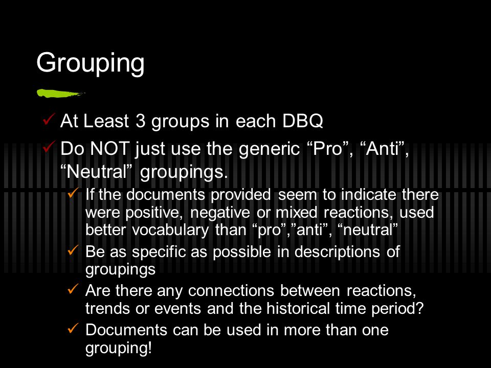 Grouping At Least 3 groups in each DBQ