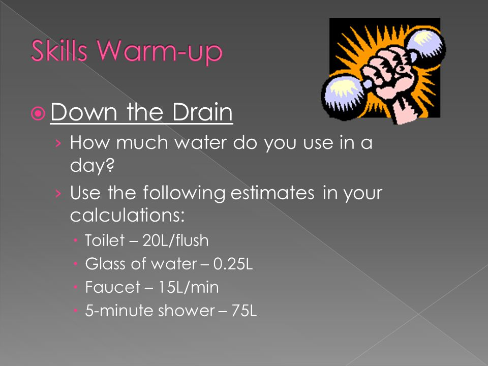 Skills Warm-up Down the Drain How much water do you use in a day