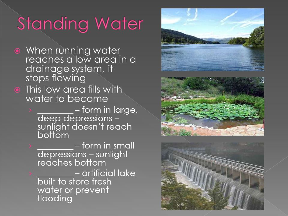 Standing Water When running water reaches a low area in a drainage system, it stops flowing. This low area fills with water to become.