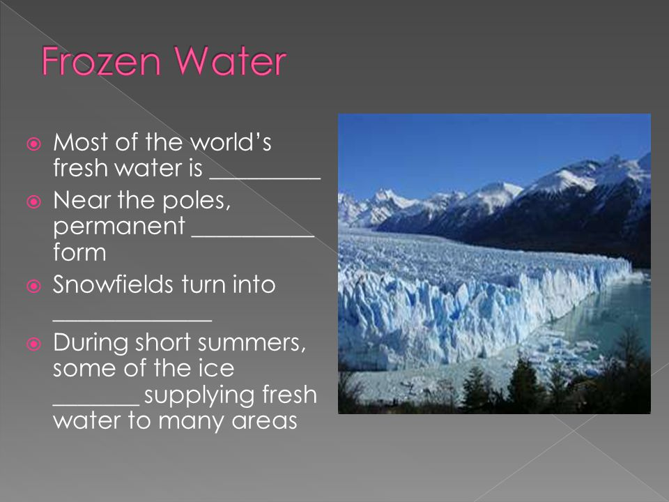 Frozen Water Most of the world's fresh water is _________