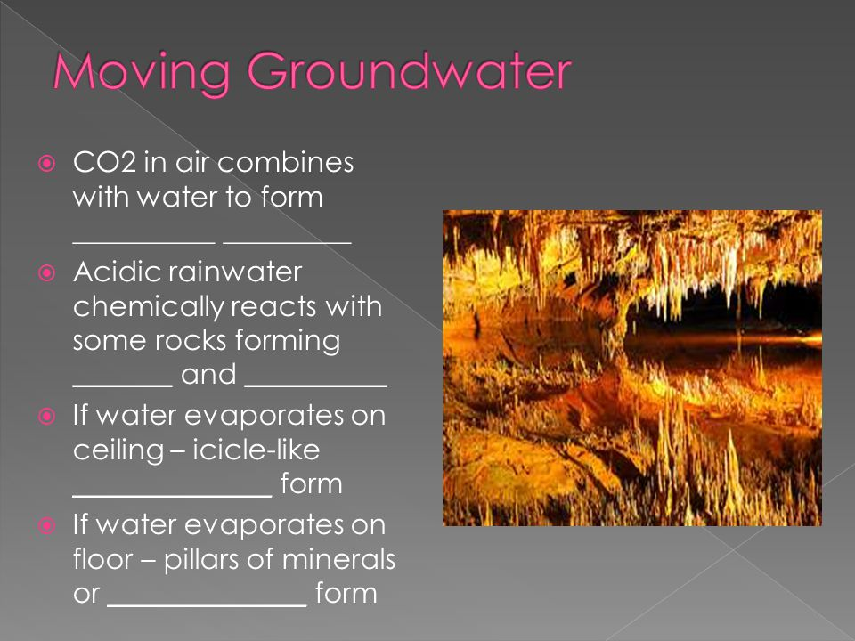 Moving Groundwater CO2 in air combines with water to form __________ _________.
