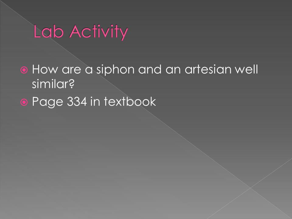 Lab Activity How are a siphon and an artesian well similar