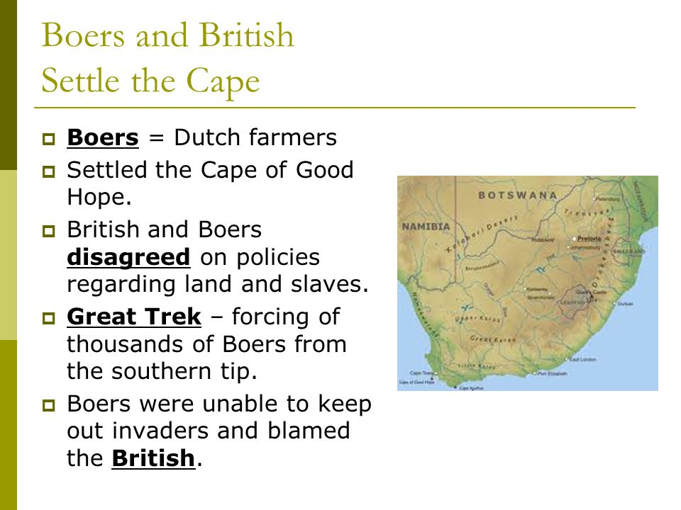 Boers and British Settle the Cape