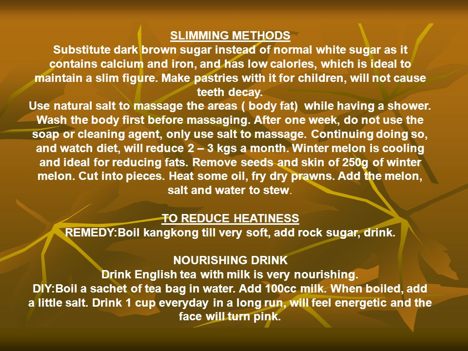 REMEDY:Boil kangkong till very soft, add rock sugar, drink.