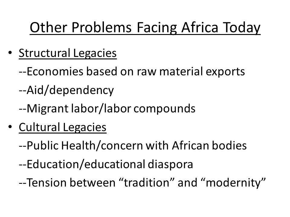 Other Problems Facing Africa Today