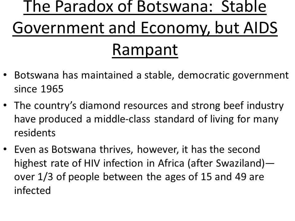 The Paradox of Botswana: Stable Government and Economy, but AIDS Rampant