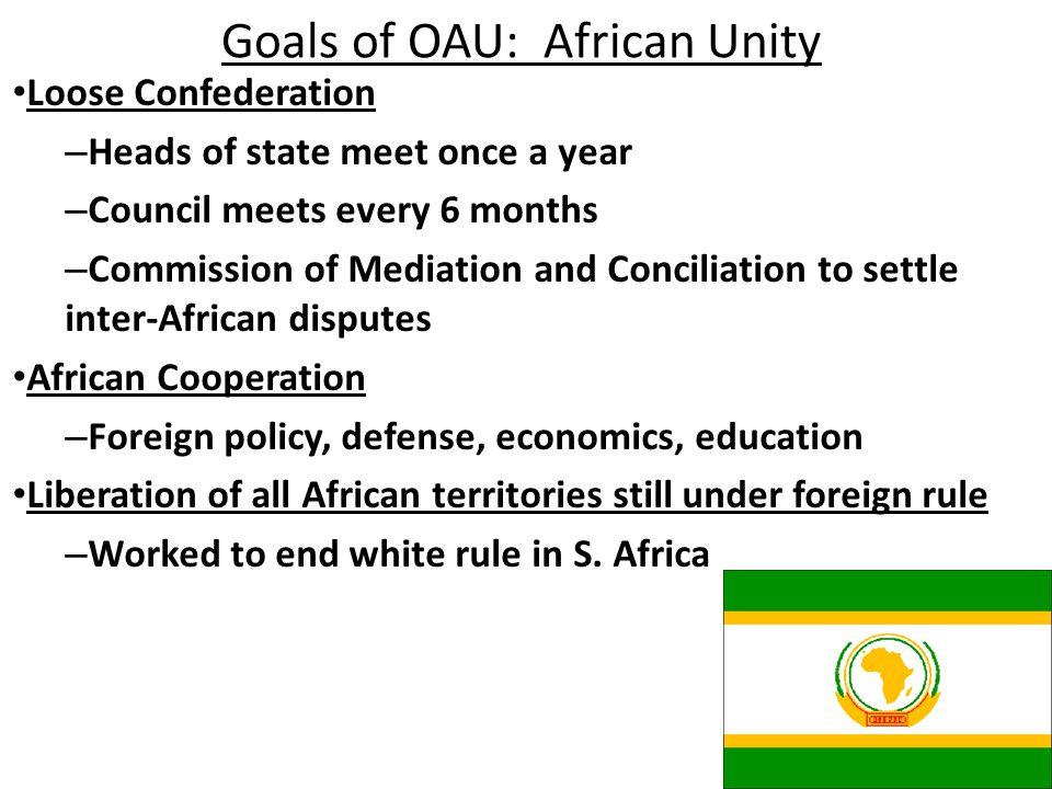 Goals of OAU: African Unity