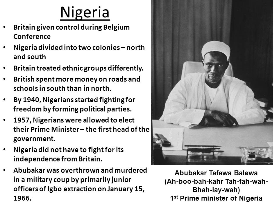 Nigeria Britain given control during Belgium Conference