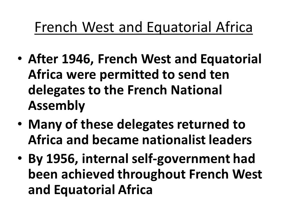 French West and Equatorial Africa