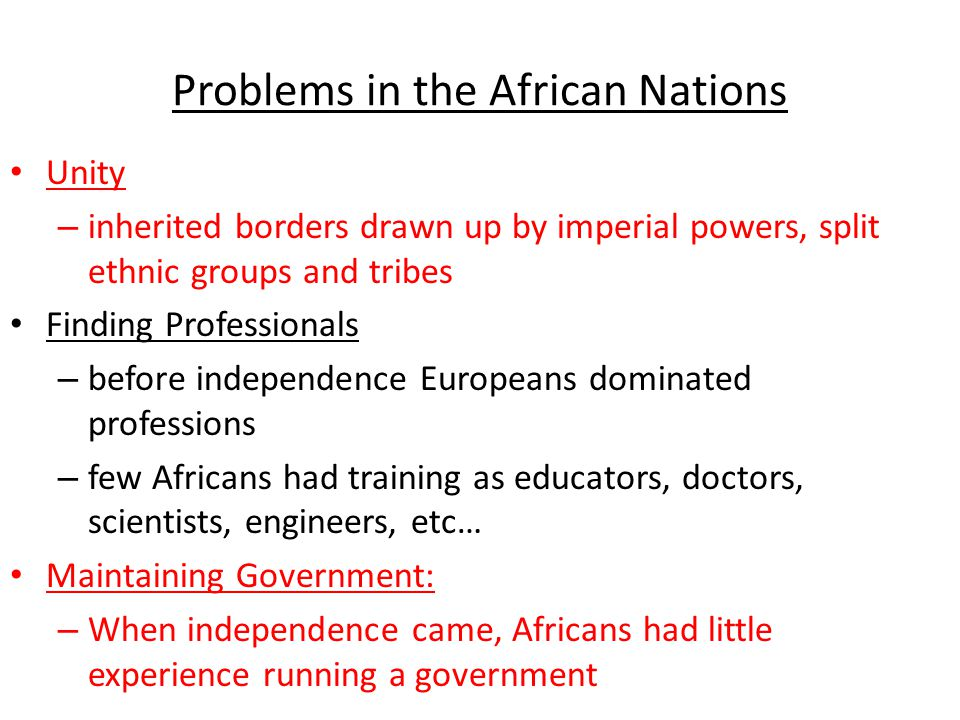 Problems in the African Nations