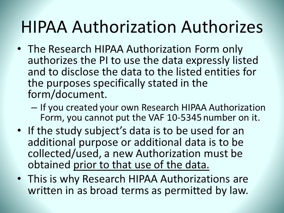 HIPAA Authorization Authorizes