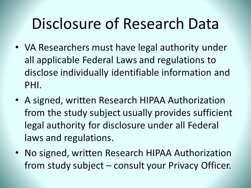 Disclosure of Research Data