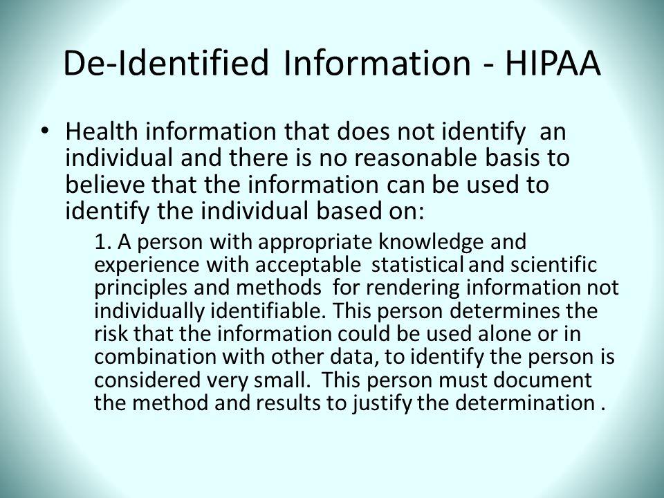 De-Identified Information - HIPAA