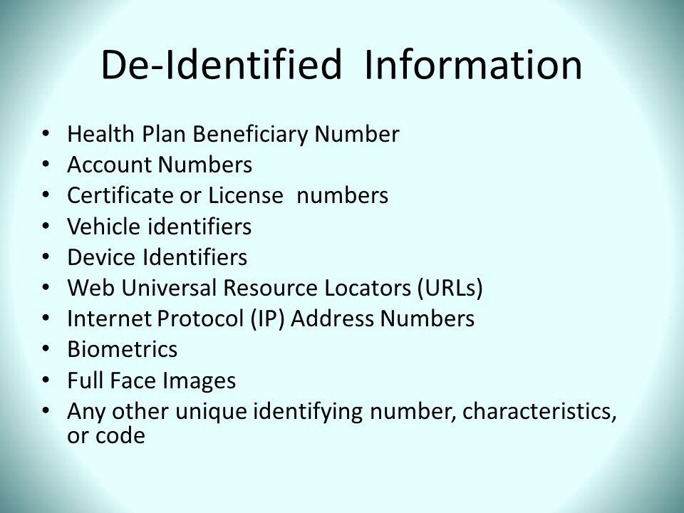 De-Identified Information