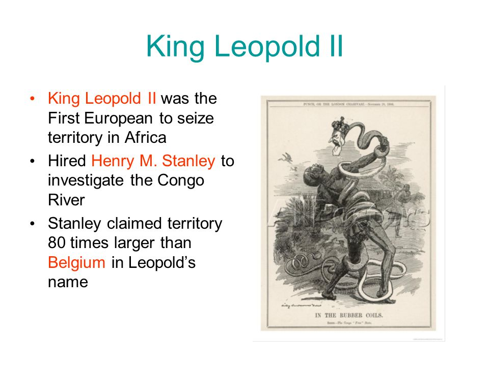 King Leopold II King Leopold II was the First European to seize territory in Africa. Hired Henry M. Stanley to investigate the Congo River.