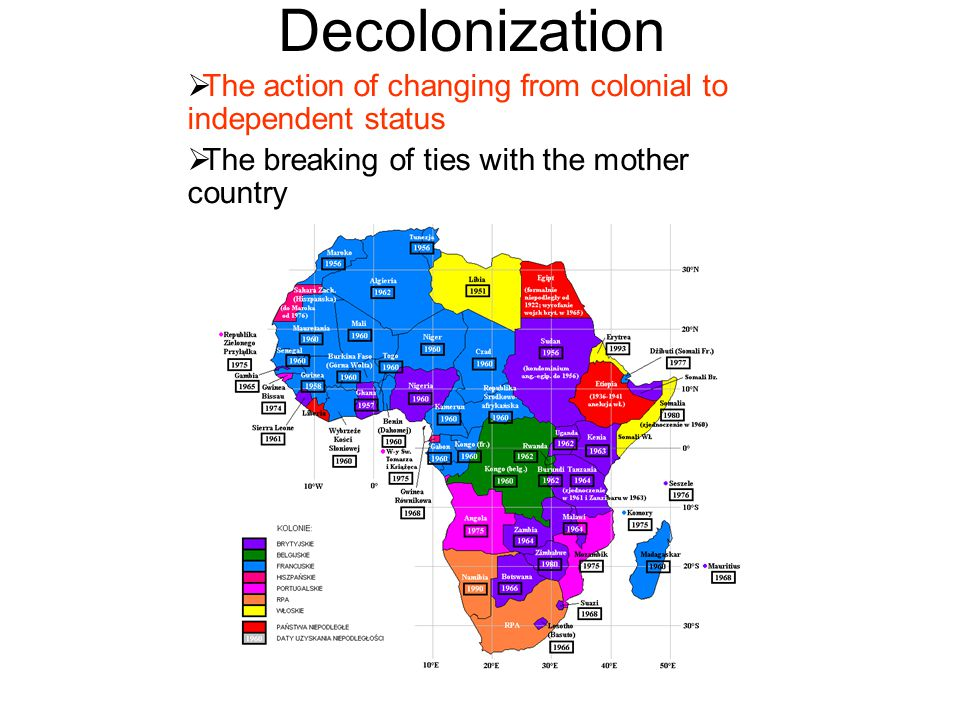 Decolonization The action of changing from colonial to independent status.