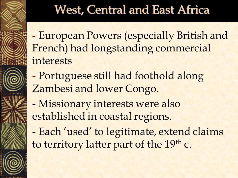 West, Central and East Africa