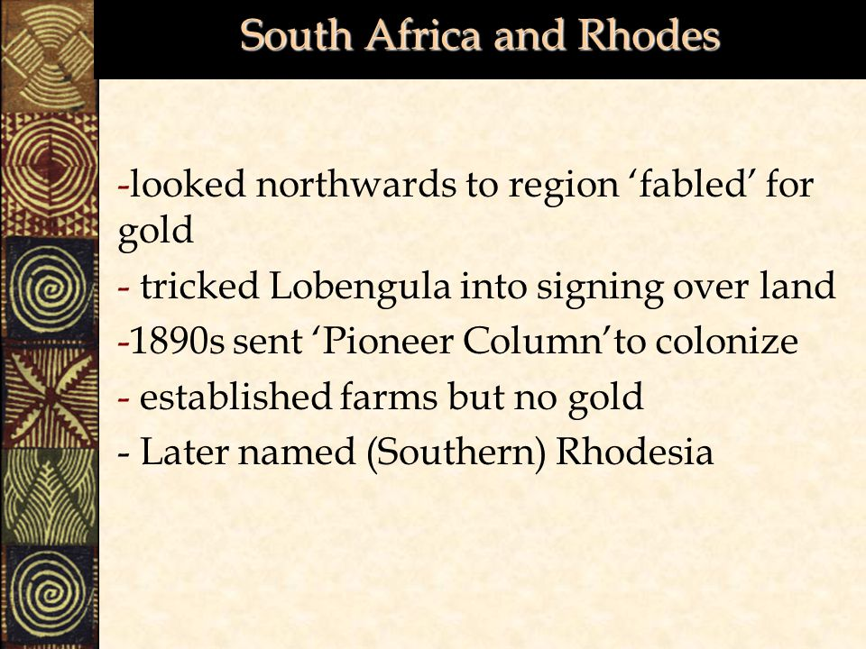 South Africa and Rhodes