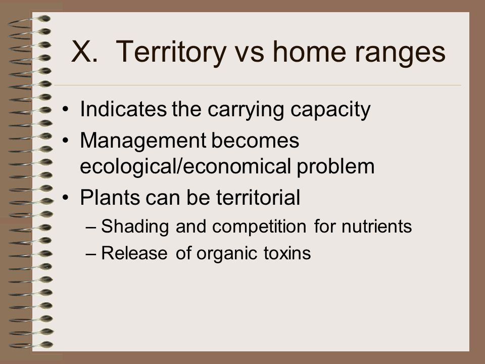 X. Territory vs home ranges