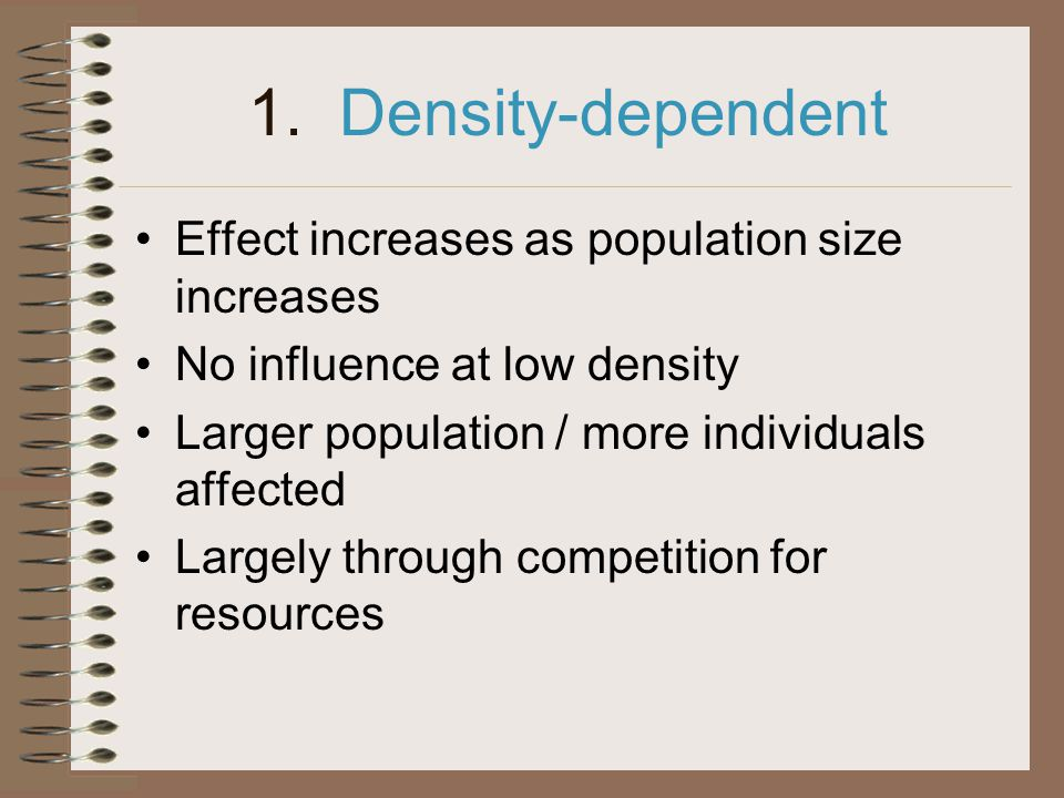 1. Density-dependent Effect increases as population size increases