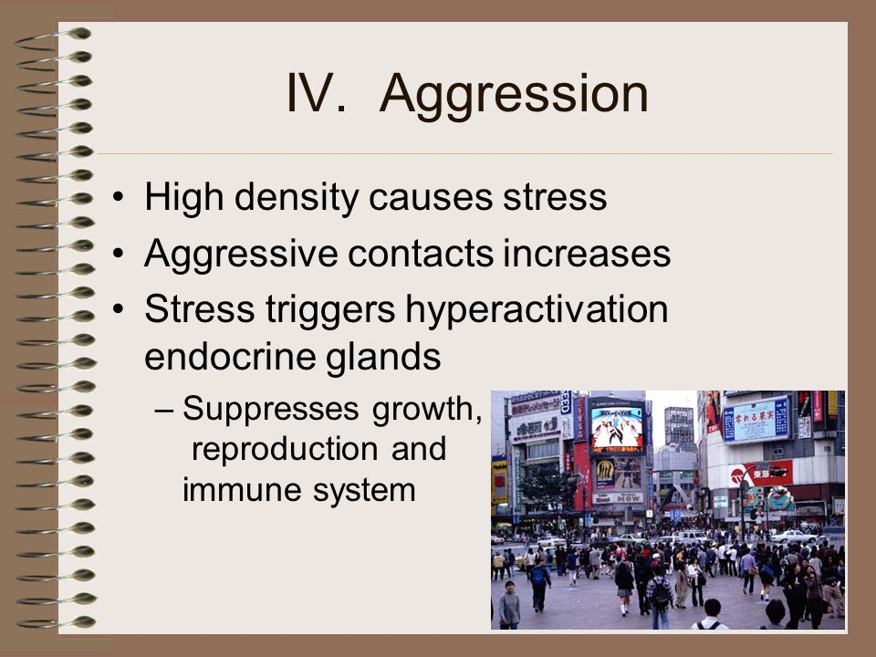 IV. Aggression High density causes stress