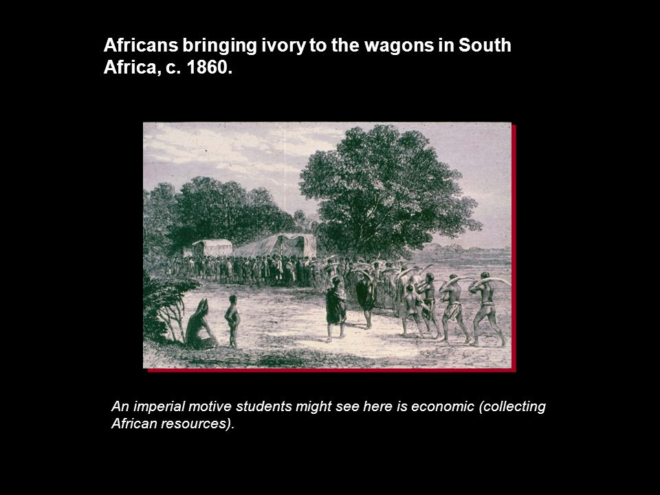 Africans bringing ivory to the wagons in South Africa, c. 1860.