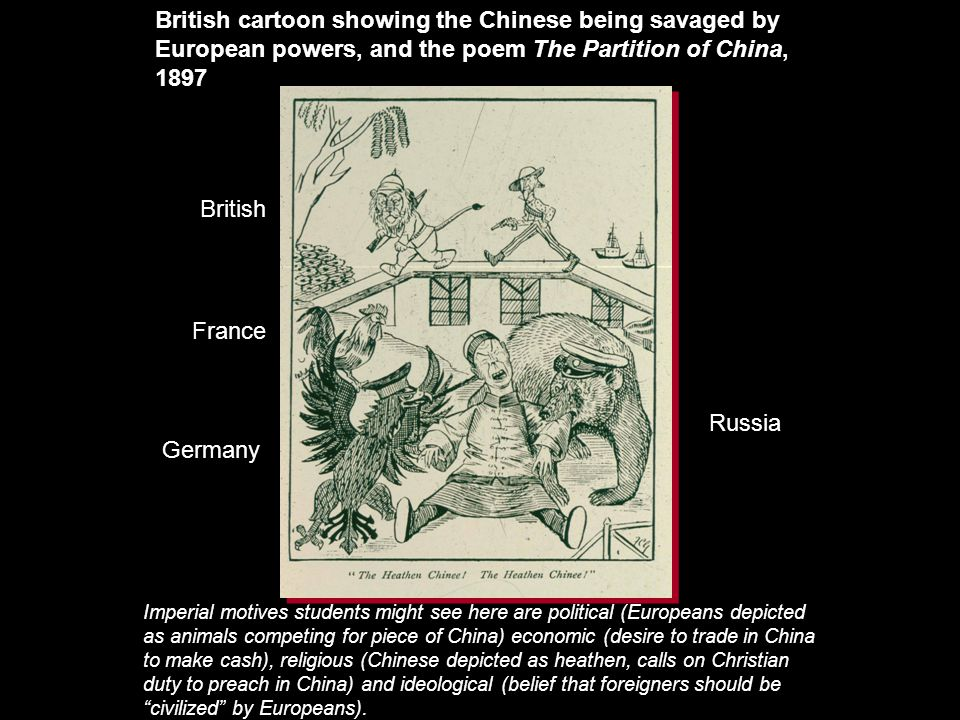 British cartoon showing the Chinese being savaged by European powers, and the poem The Partition of China, 1897