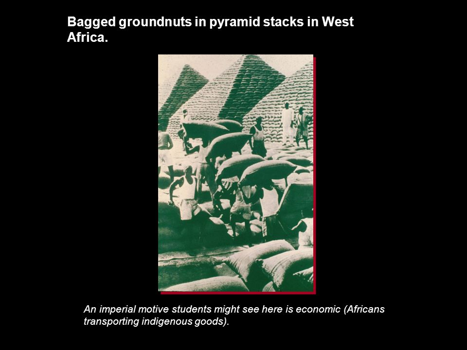Bagged groundnuts in pyramid stacks in West Africa.