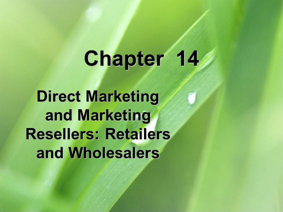 Direct Marketing and Marketing Resellers: Retailers and Wholesalers