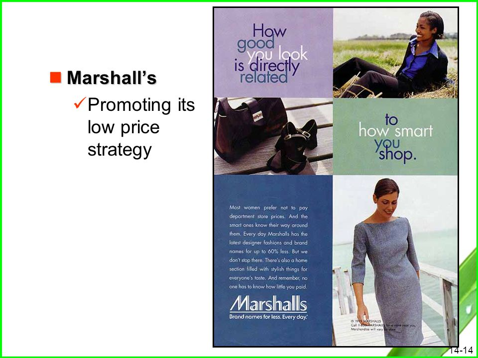 Marshall's Promoting its low price strategy