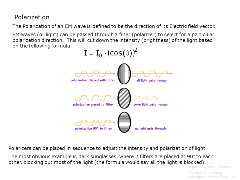 Polarization The Polarization of an EM wave is defined to be the direction of its Electric field vector.