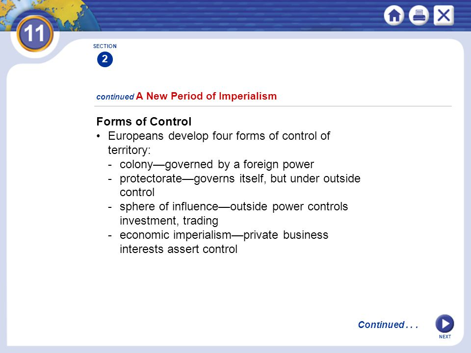 • Europeans develop four forms of control of territory: