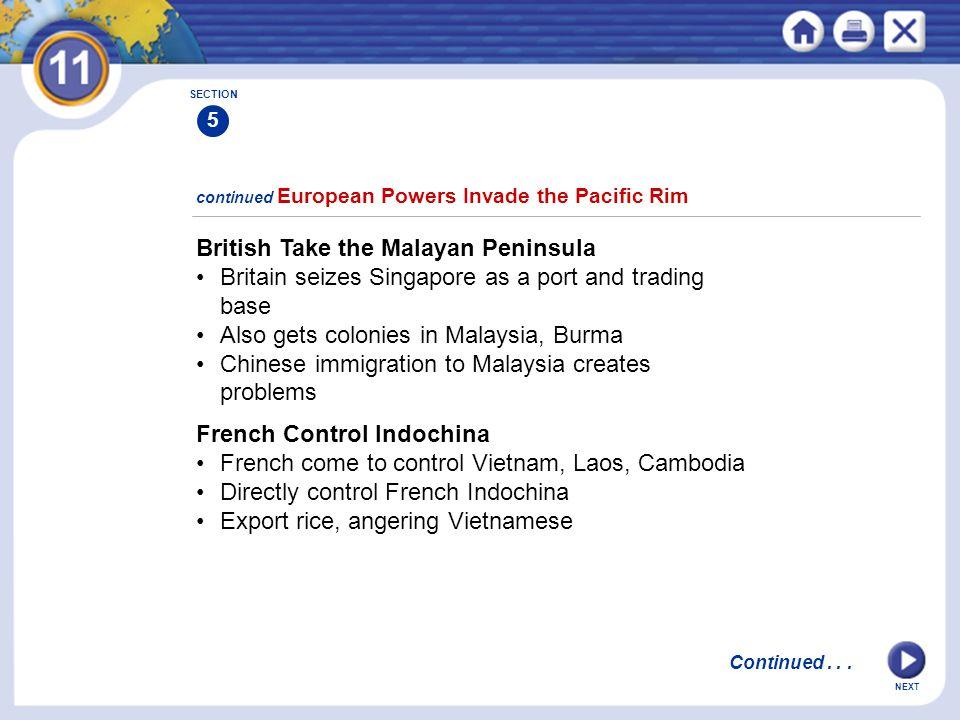 British Take the Malayan Peninsula