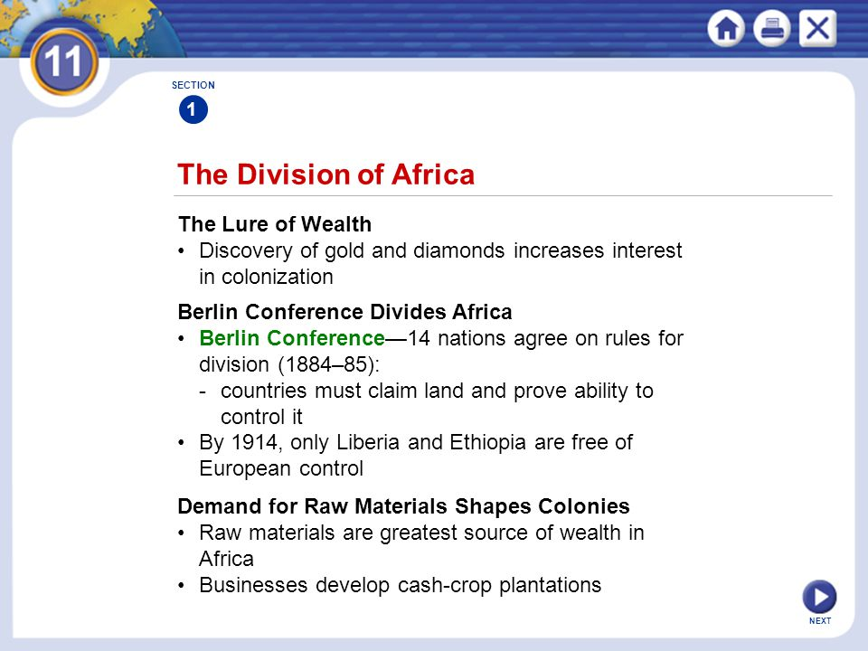 The Division of Africa The Lure of Wealth
